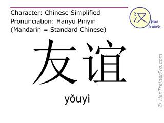 Chinesische Schriftzeichen  ( youyi / yŏuyì ) mit Aussprache (Deutsche Bedeutung: Freundschaft )