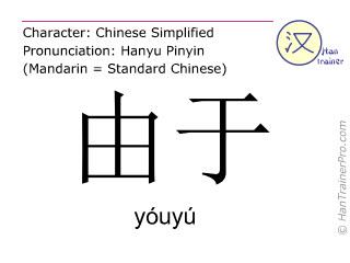 Chinesische Schriftzeichen  ( youyu / yóuyú ) mit Aussprache (Deutsche Bedeutung: aufgrund )