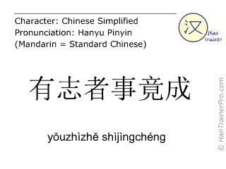 汉字  ( youzhizhe shijingcheng / yŏuzhìzhĕ shìjìngchéng ) 包括发音 (英文翻译: where there's a will there's a way )