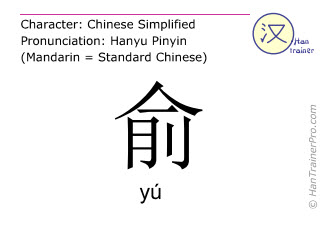 Chinese characters  ( yu / yú ) with pronunciation (English translation: to accede )