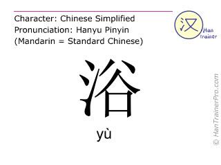 Chinesische Schriftzeichen  ( yu / yù ) mit Aussprache (Deutsche Bedeutung: Bad )