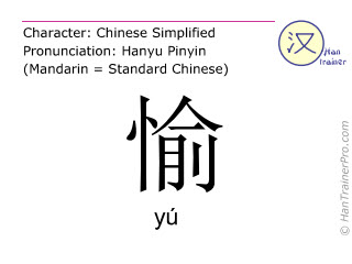 Caractère chinois  ( yu / yú ) avec prononciation (traduction française: <m>heureux</m> )