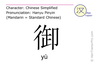 Chinese characters  ( yu / yù ) with pronunciation (English translation: to resist )