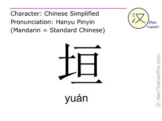 汉字  ( yuan / yuán ) 包括发音 (英文翻译: <m>wall</m> )