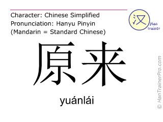 Caracteres chinos  ( yuanlai / yuánlái ) con pronunciación (traducción española: original )