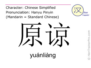 Chinese characters  ( yuanliang / yuánliàng ) with pronunciation (English translation: to forgive )