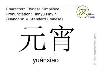 Chinese characters  ( yuanxiao / yuánxiāo ) with pronunciation (English translation: sweet dumplings made of glutinous rice flour )