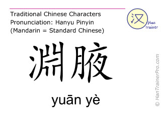 Chinese characters  ( yuan ye / yuān yè ) with pronunciation (English translation: Gall Bladder 22 )