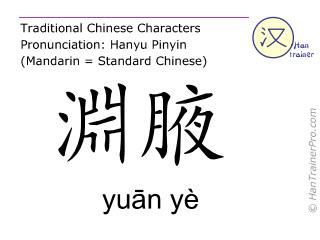 Chinesische Schriftzeichen  ( yuan ye / yuān yè ) mit Aussprache (Deutsche Bedeutung: Gallenblase 22 )