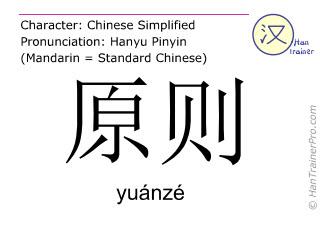 汉字  ( yuanze / yuánzé ) 包括发音 (英文翻译: principle )