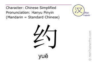 Chinese characters  ( yue / yuē ) with pronunciation (English translation: to arrange )