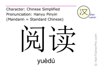 Chinese characters  ( yuedu / yuèdú ) with pronunciation (English translation: to read )