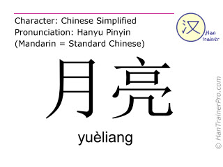Chinese characters  ( yueliang / yuèliang ) with pronunciation (English translation: moon )