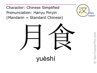 Caracteres chinos  ( yueshi / yuèshí ) con pronunciación (traducción española: eclipse lunar )