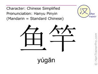 Chinesische Schriftzeichen  ( yugan / yúgān ) mit Aussprache (Deutsche Bedeutung: Angelrute )