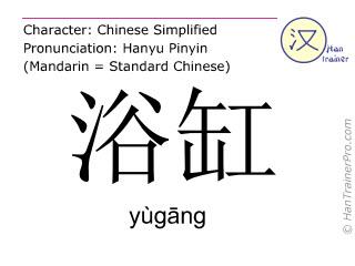 Caracteres chinos  ( yugang / yùgāng ) con pronunciación (traducción española: bañera )