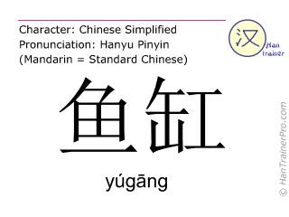 Chinese characters  ( yugang / yúgāng ) with pronunciation (English translation: fish tank )