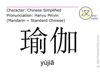 Chinese characters  ( yujia / yújiā ) with pronunciation (English translation: yoga )