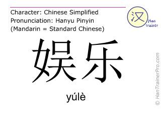 汉字  ( yule / yúlè ) 包括发音 (英文翻译: entertainment )