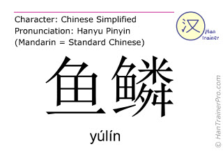 Chinese characters  ( yulin / yúlín ) with pronunciation (English translation: fish scale )