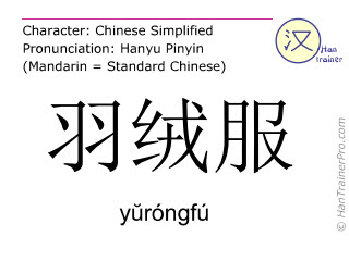 Chinese characters  ( yurongfu / yŭróngfú ) with pronunciation (English translation: down jacket )
