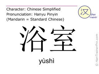 Chinesische Schriftzeichen  ( yushi / yùshì ) mit Aussprache (Deutsche Bedeutung: Badezimmer )