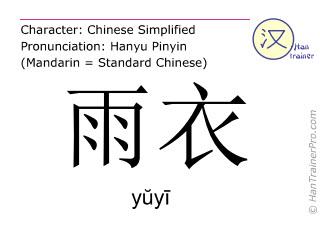 Chinesische Schriftzeichen  ( yuyi / yŭyī ) mit Aussprache (Deutsche Bedeutung: Regenmantel )