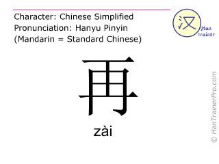 Caractère chinois  ( zai / zài ) avec prononciation (traduction française: de nouveau )