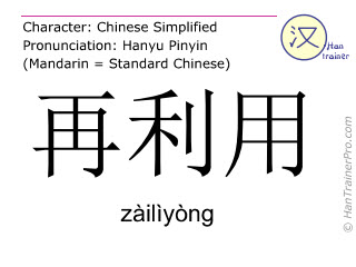 Chinese characters  ( zailiyong / zàilìyòng ) with pronunciation (English translation: to recycle )