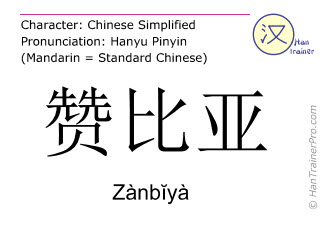 Chinese characters  ( Zanbiya / Zànbĭyà ) with pronunciation (English translation: Zambia )