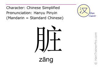 Chinesische Schriftzeichen  ( zang / zāng ) mit Aussprache (Deutsche Bedeutung: schmutzig )