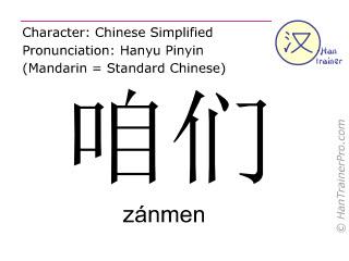 Chinese characters  ( zanmen / zánmen ) with pronunciation (English translation: we )