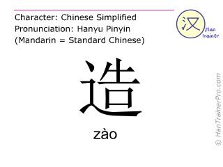 Chinesische Schriftzeichen  ( zao / zào ) mit Aussprache (Deutsche Bedeutung: machen )