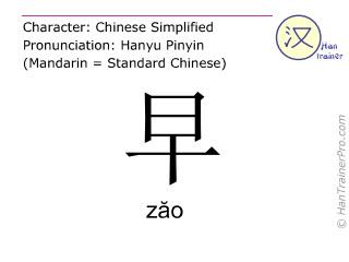汉字  ( zao / zăo ) 包括发音 (英文翻译: morning )