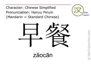 Chinesische Schriftzeichen  ( zaocan / zăocān ) mit Aussprache (Deutsche Bedeutung: Frühstück )