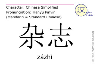 Chinese characters  ( zazhi / zázhì ) with pronunciation (English translation: magazine )