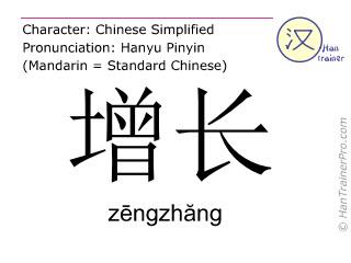 Chinesische Schriftzeichen  ( zengzhang / zēngzhăng ) mit Aussprache (Deutsche Bedeutung: Zuwachs )