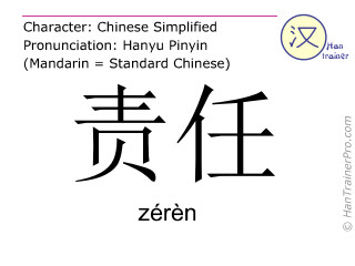 Chinese characters  ( zeren / zérèn ) with pronunciation (English translation: duty )