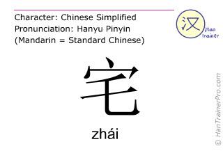 Caractère chinois  ( zhai / zhái ) avec prononciation (traduction française: hébergement )