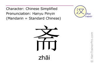 Caractère chinois  ( zhai / zhāi ) avec prononciation (traduction française: <m>chambre</m> )