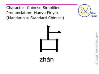 汉字  ( zhan / zhàn ) 包括发音 (英文翻译: to account for )