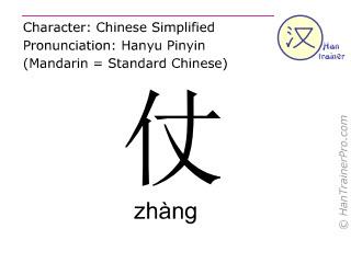 Caractère chinois  ( zhang / zhàng ) avec prononciation (traduction française: <m>bataille</m> )
