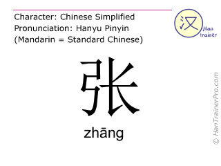 Chinese characters  ( zhang / zhāng ) with pronunciation (English translation: to spread )