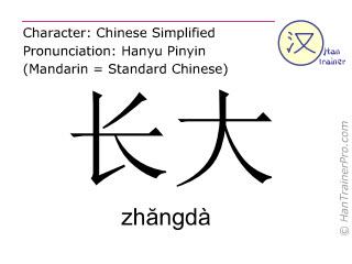 Caracteres chinos  ( zhangda / zhăngdà ) con pronunciación (traducción española: crecer )
