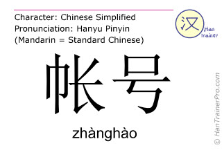 Chinese characters  ( zhanghao / zhànghào ) with pronunciation (English translation: account number )