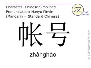 Chinesische Schriftzeichen  ( zhanghao / zhànghào ) mit Aussprache (Deutsche Bedeutung: Kontonummer )