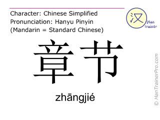 Caracteres chinos  ( zhangjie / zhāngjié ) con pronunciación (traducción española: capítulo )