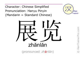 汉字  ( zhanlan / zhănlăn ) 包括发音 (英文翻译: to exhibit )