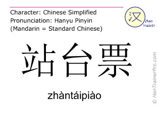 Caractère chinois  ( zhantaipiao / zhàntáipiào ) avec prononciation (traduction française: carte d'accès plate-forme )