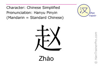 Chinese characters  ( Zhao / Zhào ) with pronunciation (English translation: <i>surname</i> )